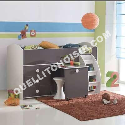 lit lit combin pour enfant avec bureau com tag re bla taupe 3 suisses. Black Bedroom Furniture Sets. Home Design Ideas