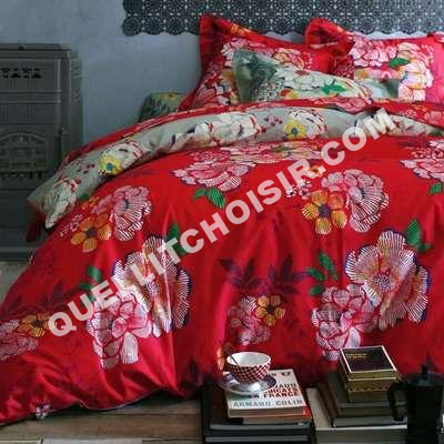 lit housse de couette imprimé fleurs coton céladon/rouge kimono 3