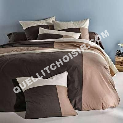 lit housse de couette 1 ou 2 persoes coton ige cru et taupe 3 suisses au me. Black Bedroom Furniture Sets. Home Design Ideas
