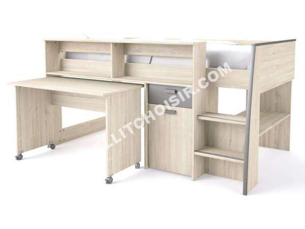 lit conforama lit sur lev combin 90x190 cm swag coloris cypr s gris tau. Black Bedroom Furniture Sets. Home Design Ideas