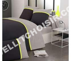 lit cotonflor housse de couette fluo jaune anthracite et gris au meilleur prix. Black Bedroom Furniture Sets. Home Design Ideas
